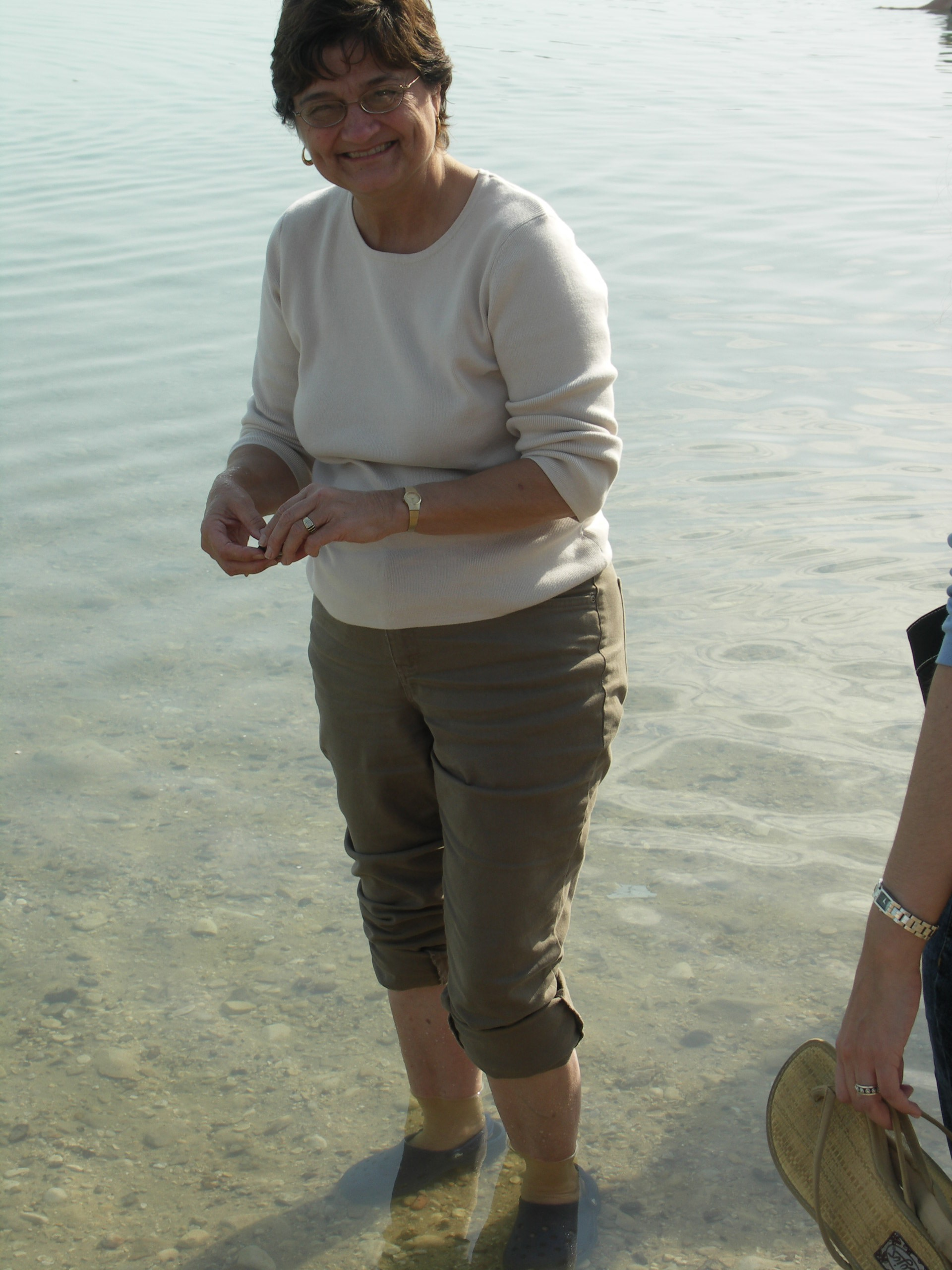 We did not have time to float in this salten sea so I settled for wading around a bit. When you are in  a  desert as vast as the Negev you appreciate any body of water.  I found this sea along with the Jordan River and the Sea of Galilee to be intriguing and somewhat mystical.