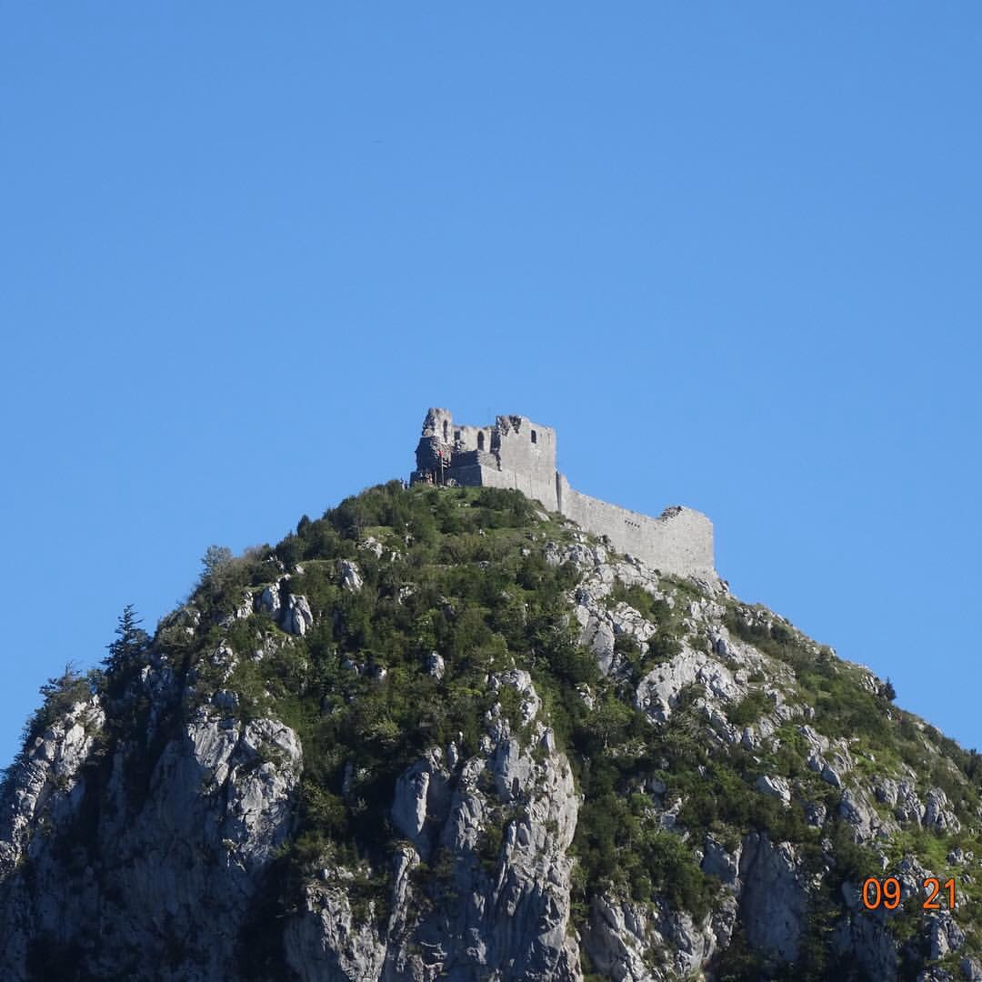 Montsegur---Cathar stronghold in the Pyrenees Mountains