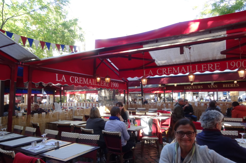 The Montmarte...a marketplace at the feet of the Sacre Coure...shops, restaurants, artists and on and on. We walked the steep streets in wonder of all the sights and sounds. Of course we indulged and had the crepes and cafe au lat!