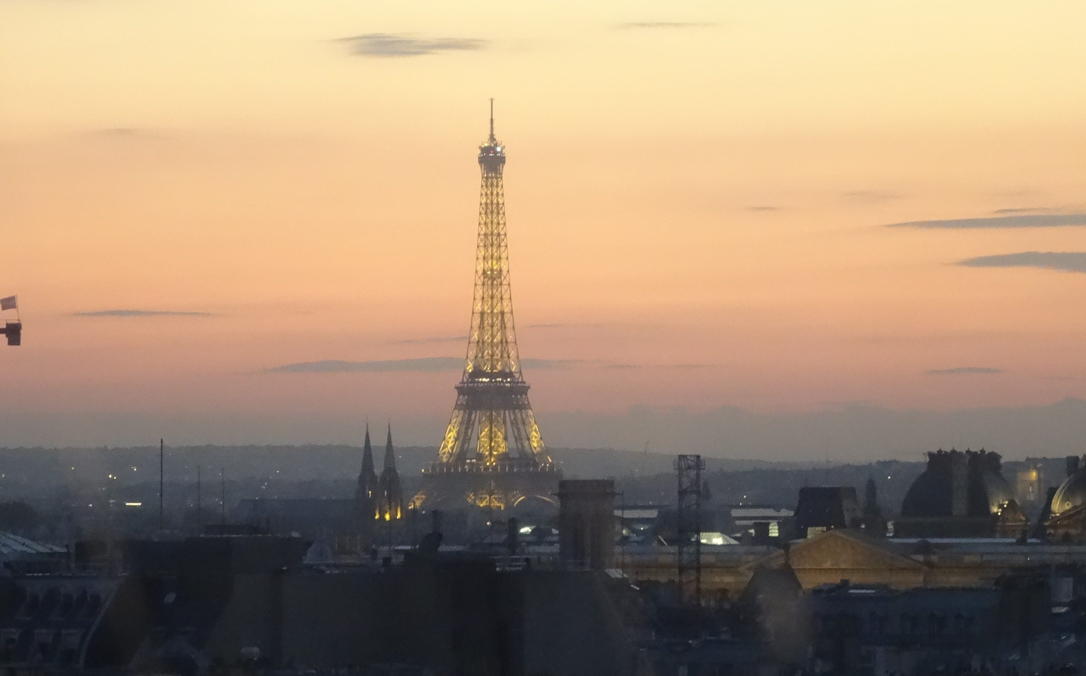 The Eiffel Tower at night. This iconic view of the tower from The Pompidue Center says it all. Paris is the city of lights. This was taken our last night in the City of Lights and is most poignent of all my photos.